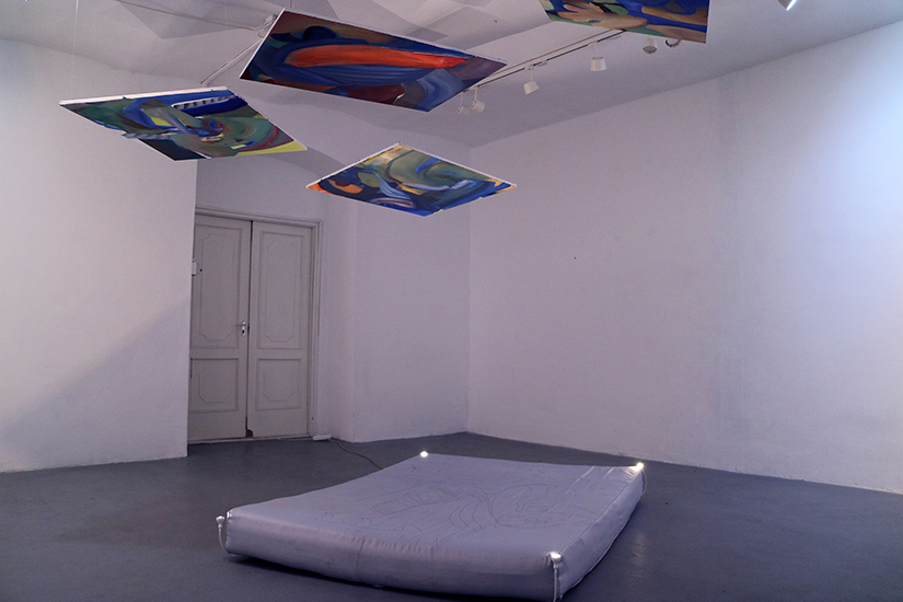 Paintings, mattress with embroidey