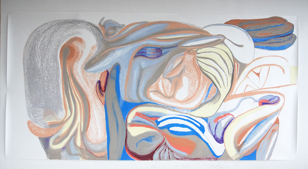Pastel on the paper, 300 x 150 cm